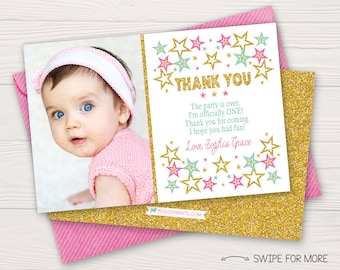 Twinkle Twinkle Little Star Thank You Card | First Birthday Thank You Card | Pink, Mint Green, & Glitter Gold | Personalized and Printable