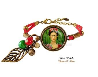 Artist Frida Kahlo bracelet painter bronze-n-pink red green leaf painter