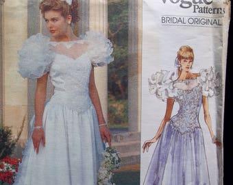 Vintage Vogue Bridal Original Wedding Gown with Train & Petticoat Sewing Pattern Vogue 2398 Size 6-8-10 UNCUT