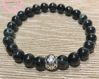 8mm Kambaba Jasper with Silver-Plated Celtic Bead Stretch Bracelet for Men