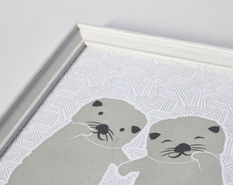Otters Holding Hands 2-Coloured Letterpress Print (8 x 10)