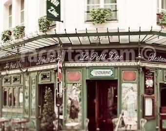 Paris Print, Le Petit Zinc, Paris Cafe, Beige, Green, French Cafe, Paris Photography, Large Wall Art