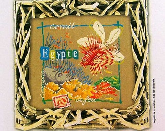 Egyptian Red Sea – counted cross stitch chart, tropical fish. French Chart, design wording in French, key in English or French. Poissons.