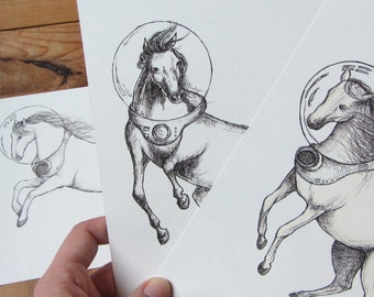 Space Horse A5 Print - Choose 1 or Set of 3 - Equestrianaut - Horse Illustration