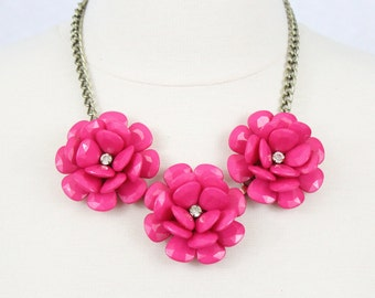 Big Flower Necklace Fuchsia Beaded Rose Necklace Statement Necklace Pink Bridesmaids Gifts