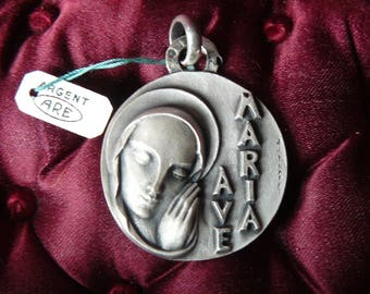 Large religious medal Ave Maria Lourdes Vintage Silver Religious Medal sterling silver Catholic Gift Religious Jewelry Catholic Jewelry