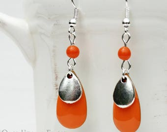Drop earrings enameled orange - Once Upon a Fantasy