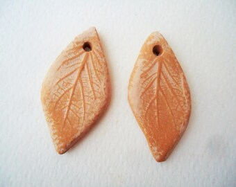 Leaf earring beads, brown and pink earring beads, ceramic earrings, leaf imprint beads, beads for earrings, natural jewelry, boho beads