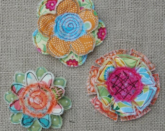 In the Hoop Frayed & Layered Flowers Machine Embroidery Files Instant Download