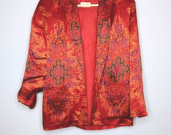 Red Satin Embroidered & Patterned Blazer