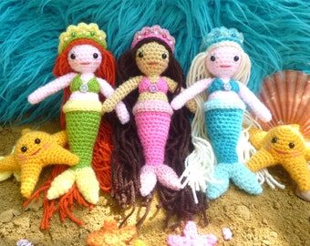 Free Amigurumi Mermaid Patterns : Crochet baby mermaid pattern includes starfish and shell top and