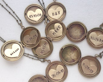 Personalized jewelry, Initial necklace, bridal jewelry, vintage locket initial monogram brass gold locket necklace wedding locket necklace