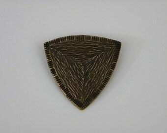 Triangular Textured Bronze Brooch
