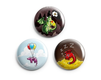 Dragon Pinback Buttons, Dragon Pins, Buttons, Badges