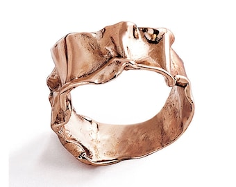CRUMPLED Rose Gold Ring Band, Unique Wedding Band, Women's Rose Gold Wedding Band, Alternative Wedding Band, Mothers Day Gift