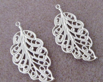 Bright Silver Plated Filigree Leaves Leaf 33mm x 17mm 506