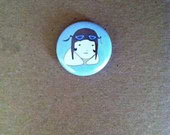 Amelia Earhart Pinback Button One Inch Size