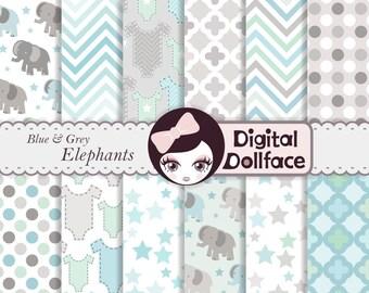 Baby Boy Digital Paper, Baby Shower Scrapbook, Blue & Grey Elephant Backgrounds