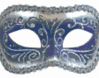 Purple and Silver Venetian Mask,  Cross Stitch Pattern, Downloadable PDF