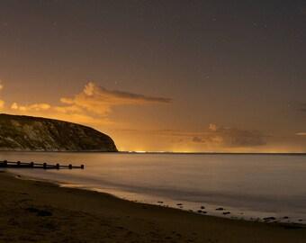 "Swanage Bay, Dorset at Night. Large Panoramic Fine Art Landscape Photography. 23.2"" x 9.8"" (59 x 24.8cm)"
