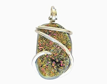 Handmade Druzy Pendant Wrapped in Sterling Silver Wire by Isabella Roth