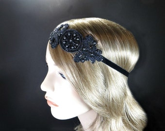 Gatsby Headpiece, 1920's Flapper Headband, Roaring 20's, Wedding Hair Piece, Great Gatsby Gunmetal Daisy Buchanan Party Hair Accessory