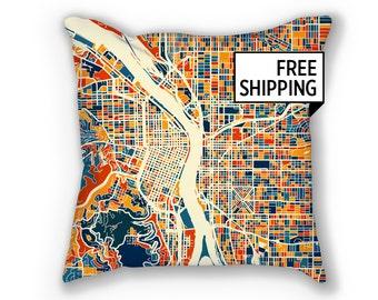 Portland Map Pillow - Oregon Map Pillow 18x18