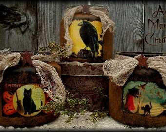 Primitive Folk Art Halloween Luminary Jars NO SEW ePattern