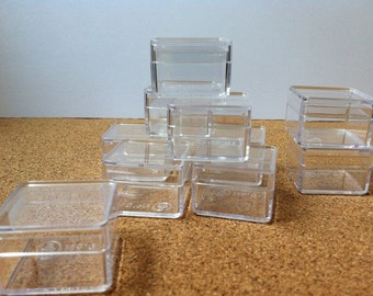 12 Plastic Gift boxes Clear Square Jewelry Wedding Birthday box