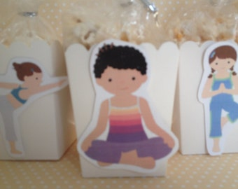 Yoga Party Popcorn or Favor Boxes - Set of 10