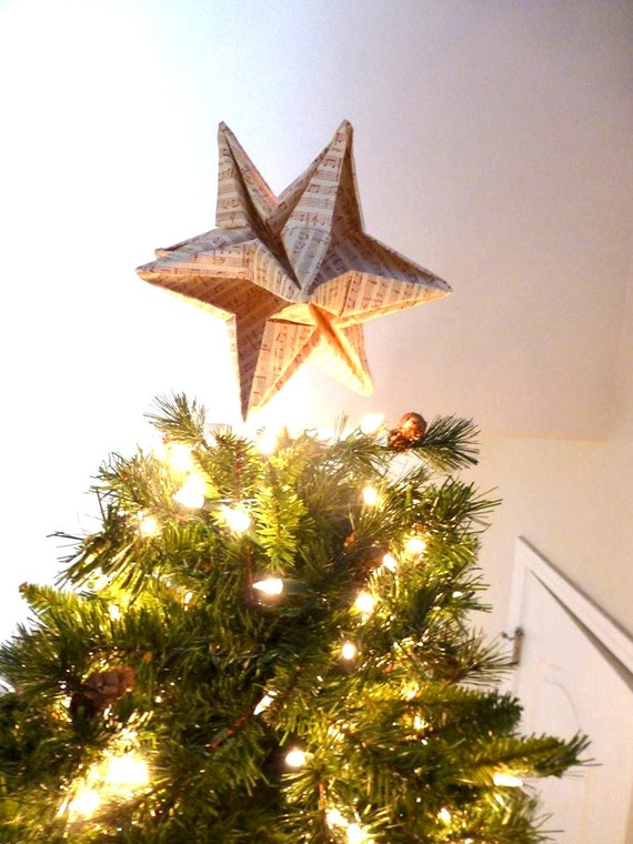 Origami Star Christmas Tree Topper, On the first day of christmas, my true love gave to me, music sheets, music sheet ornaments