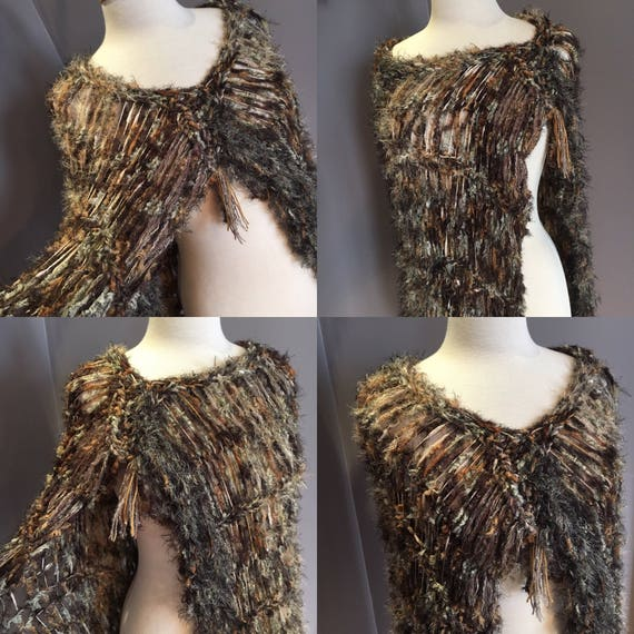 Hand Knit Lightweight Poncho, shoulder wrap, shrug, Dumpster Diva, Knit fringed Offset black tan carmel poncho, bohemian, easy wearing, boho