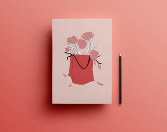 Illustration A4 - PRINT - pink peonies