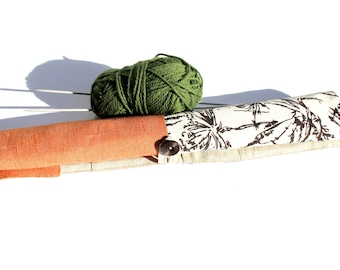 Large Linen Knitting Needle Case- Orange with Blossoms DPN Holder- Knitting Needle Organizer- Crochet Hook Roll-Storage for Straight Needles