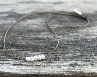 white bohemian necklace / freshwater pearls / handspun ROPE / waterproof / life-proof  / minimalist beauty / tula blue