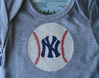 New York Yankees,NY Yankees Bodysuit,or Set with matching Bib,Boy's Personalized Yankees,Baseball One Piece,Favorite Baseball Player