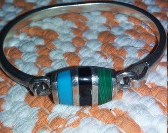 Vintage Sterling Gemstone Cuff Bracelet