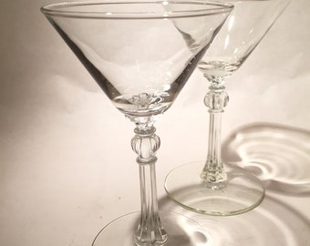 Pair Vintage Martini Glasses