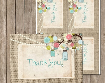 Mason Jar, Thank You Card, Mint, Coral, Lights, Lace, Printable, 4x5, Instant Download