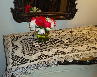 Vintage Ecru Cluny Lace Table Runner 18 X 36 Inch