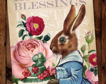 Easter Card, Easter Greeting Card, Vintage Easter Greeting Card, Vintage Easter Bunny Greeting Card, Holiday Card