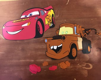 Lightning McQueen and Mater die cuts with Character Table Confetti (100 pieces total)