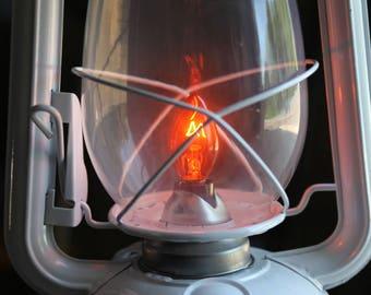 Electric Lantern Table Lamp, WHITE LANTERN, Electric Hurricane Lantern, Night Light, Rustic Lantern Light, Table Lamp,
