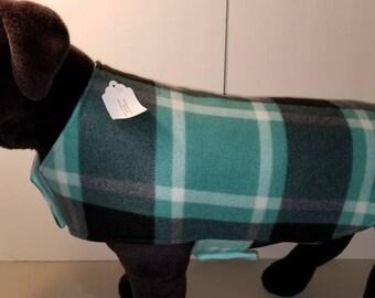Reversible Fleece Dog Coat,  Plaid Dog Coat, Aqua & Gray Dog Coat,Dog Clothing, Dog Apparel,Dog Coat