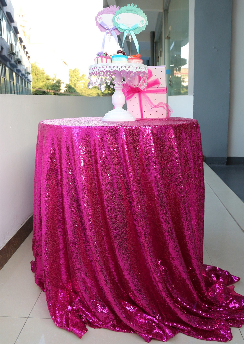 Hot Pink Sequin Tablecloth Round Wedding Tablecloth Sparkle