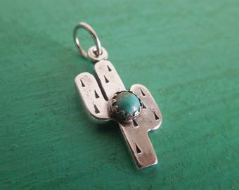 Cactus Sterling Silver Turquoise Pendant Charm - Handcrafted Saguaro Cactus Arizona New Mexico Southwest