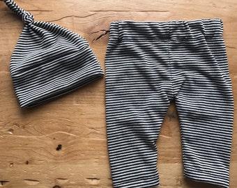 Baby Stripes Hat & Pants Set, Black, Ivory, Leggings, Baby, Gender Neutral, Knit, Stretchy, Newborn, Infant, Gift