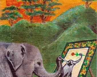 ACEO Print Tiny Animal Art The Painting Elephant Rebecca Salcedo EBSQ FFAW