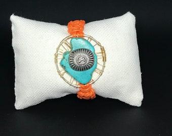 Mayan db couture Orange Woven Turquoise Bracelet