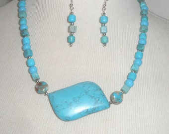 Turquoise Glass Beads and Real Stone Pendant Necklace